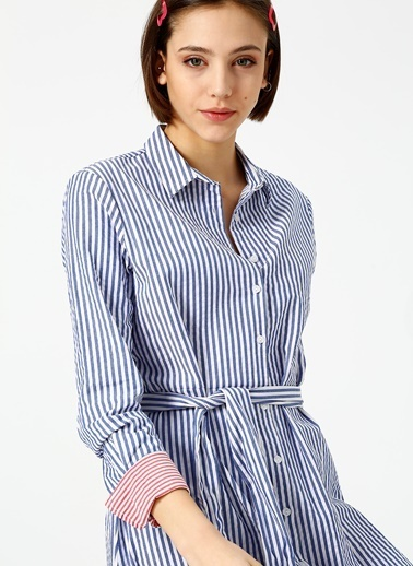 Limon Company Çizgili Gömlek Elbise Lacivert